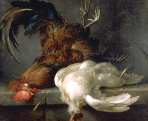 Nature morte au coq et à la poule de Anne Vallayer-Coster (1744-1618) via notesdemusees.blogspot.fr