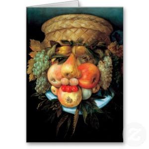 Corbeille de fruits par Giuseppe Arcimboldo via zazziz.fr
