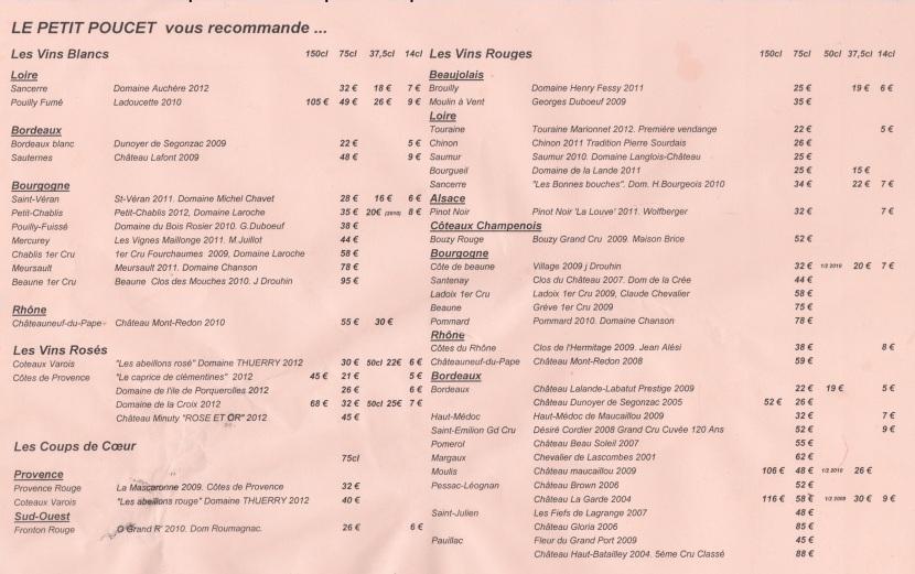 Carte des vins Petit Poucet
