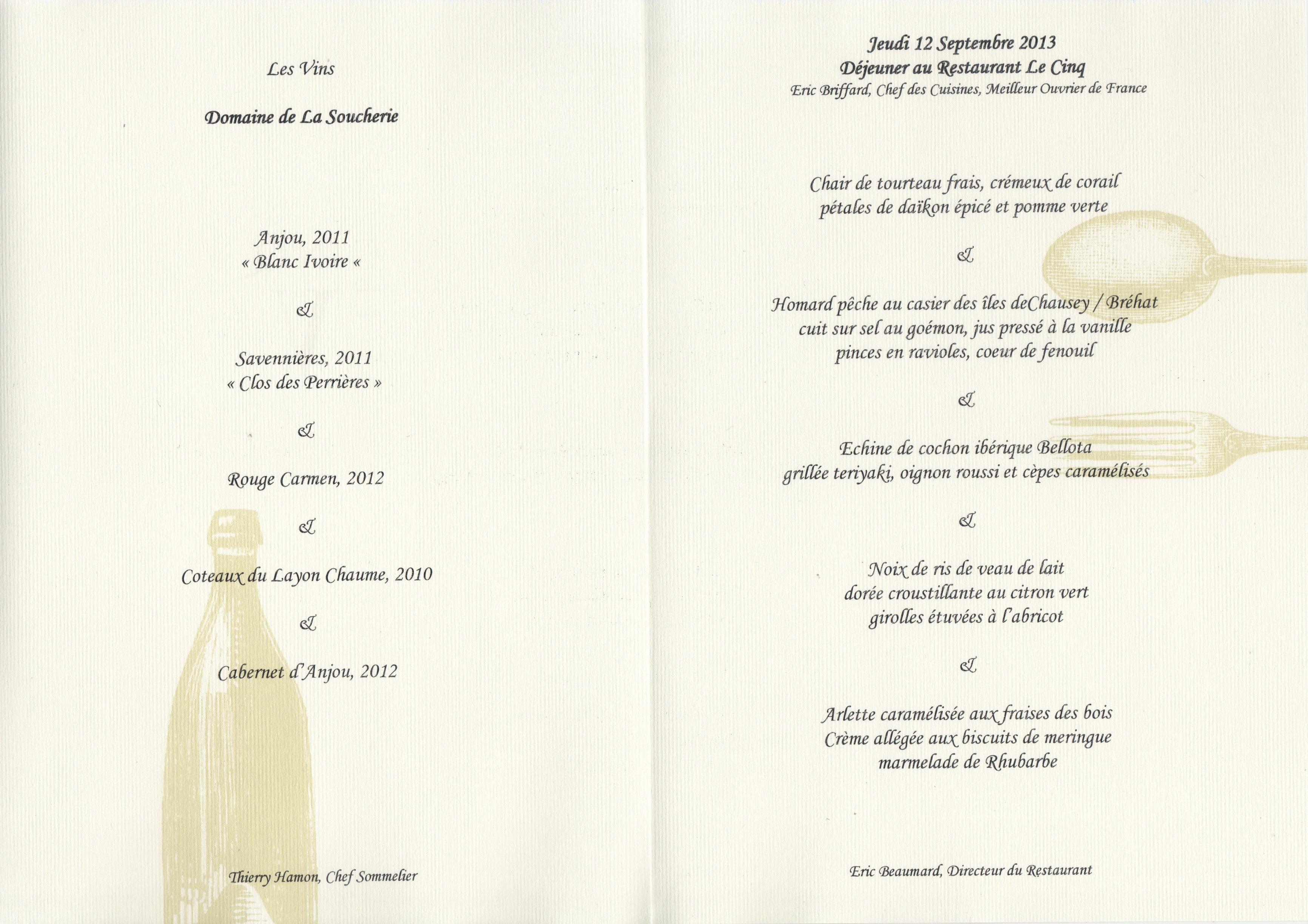Menu Restaurant Gastronomique Georges Blanc
