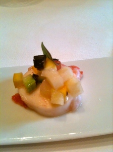 Poulpe mariné aux petits légumes © Blandine Vié