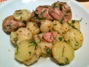 Boudin de ris de veau, salade de pommes de terre tièdes à l'échalote