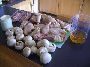 Ingrédients poulet Vallée d'Auge via mouetteaufourneau.blogspot.com