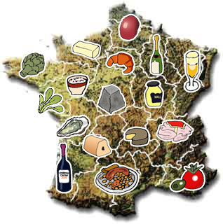 Carte de la France gastronomique via lagrandecuisine.com
