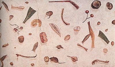 Reliefs de repas, mosaïque romaine via bloguslatinus.canalblog.com