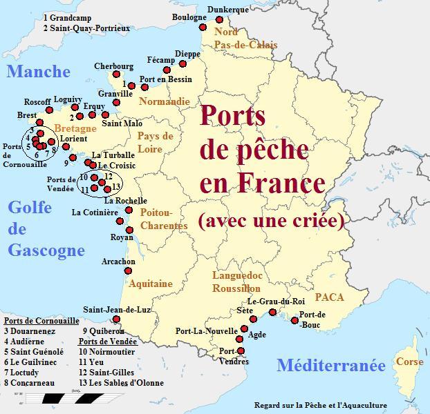 Carte de France des ports de pêche via aquaclture-aquablog.blogspot.com