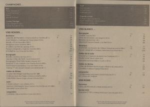 Carte des vins Marignan