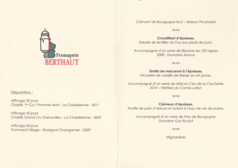 Déjeuner Époisses Berthaut
