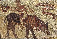 Chevauchée à rebours, mosaïque romaine à Volubilis via lamblard.typepad.com