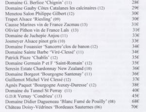 Carte des vins blancs Léo Dupont