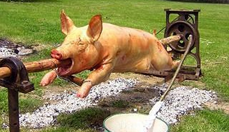 Cochon rôti à la broche via jourdebombance.fr