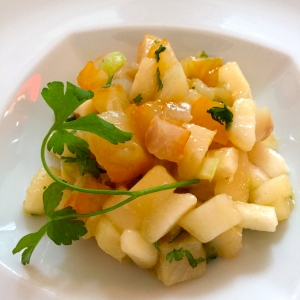 Tartare de haddock et poire au vinaigre de cidre © Greta Garbure