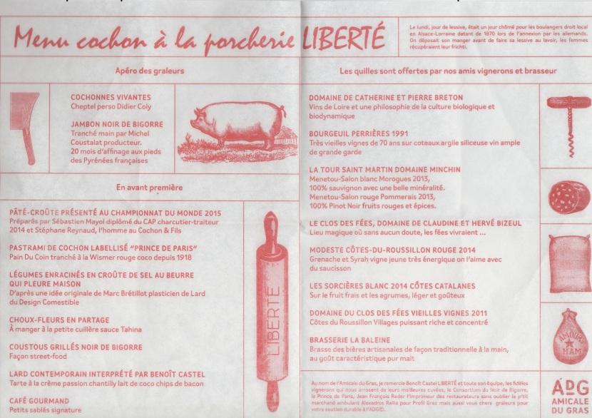 Le menu cochon de la porcherie Liberté