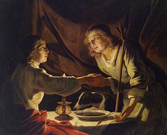 Ésaü (à droite) vend son droit d'aînesse à Jacob pour un plat de lentilles, tableau de Matthias Stom (xviiesiècle) via Wikipédia