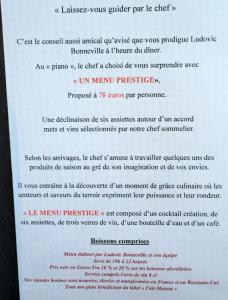 Le menu Prestige