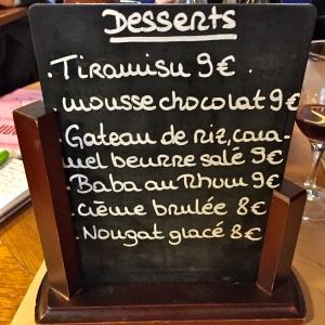 L'ardoise de desserts © Greta Garbure
