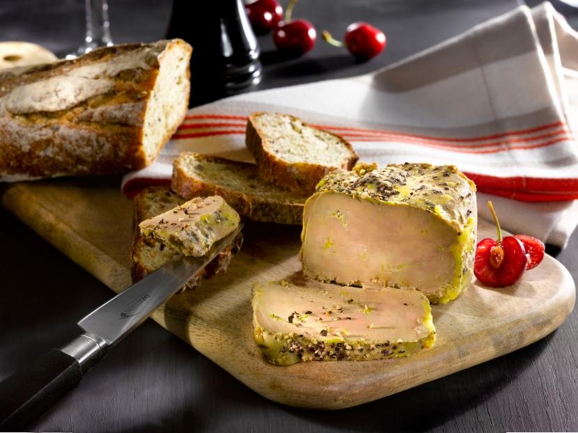 Foie gras au poivre Lafitte  mis en scène