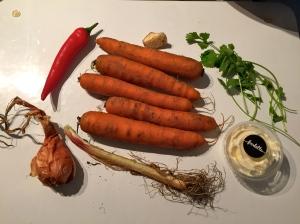 Les ingrédients de la mousseline de carottes © Greta Garbure