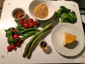 Les ingrédients de la salade de livarot © Greta Garbure