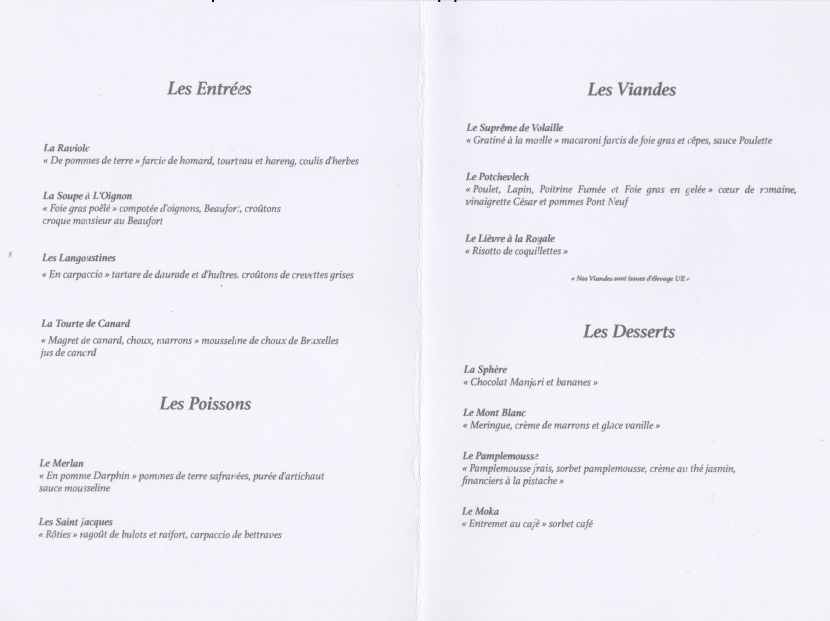 Menu de décembre de La fourchette du printemps